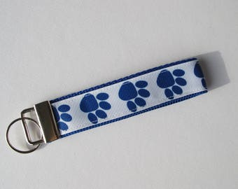 Dog Paw Key Fob, Blue and White Key Chain, Dog Key Chain, Dog Paw Key Chain, Dog Gift, Puppy Gift