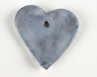 Smoky Purple Ceramic Heart Pendant