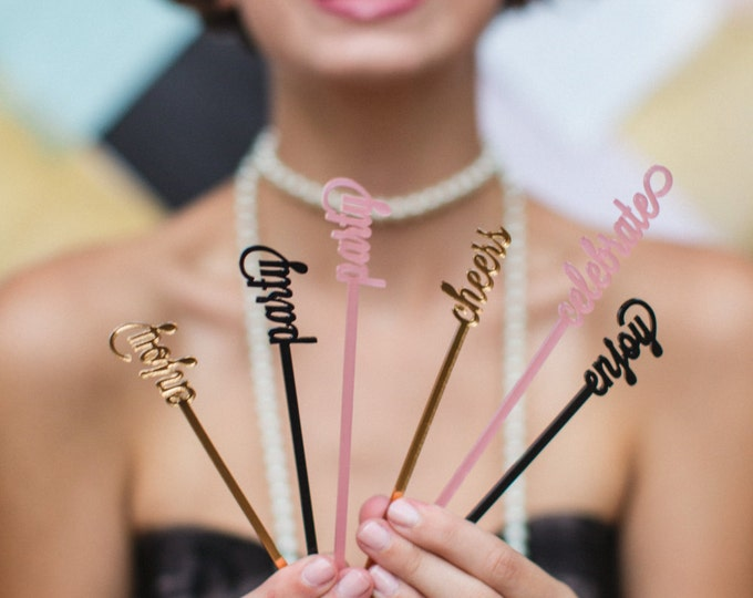 Cheers, Party, Celebrate, Enjoy, Love Swizzle Sticks, Stir Sticks, Drink Stirrers Laser Cut, Acrylic, 6 Ct.
