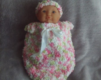 Cocoon, Sleep Sack,Girls,Pink,White,Green,Shower Gift,Photos,Larger Preemie,Crocheted,Headband