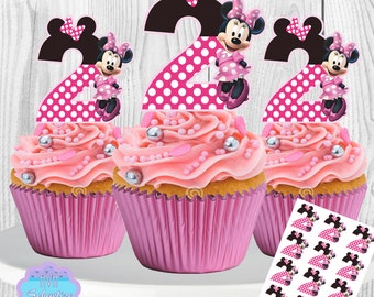 PRINTABLE Minnie Mouse Cupcake Toppers, Cupcake Picks, 2nd Birthday INSTANT DOWNLOAD