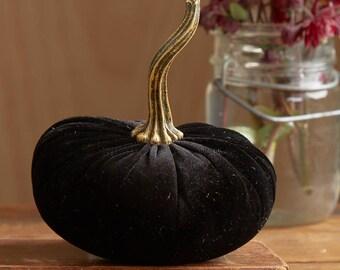Velvet Pumpkin Black, modern rustic mantle decor, wedding centerpiece, engagement party favors, modern farmhouse decor, best selling items