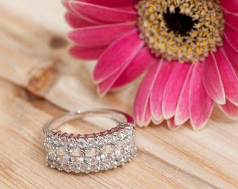 Silver Plated Cubic Zirconia CZ Engagement Wedding Promise Ring 6.5 Ring Size US V1002silver