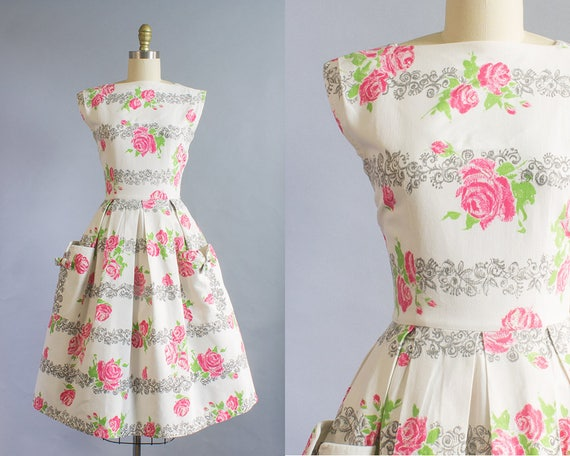 Dress 25W Rose Pique Cotton Pink 36B 1950s Small Print nxwg6R8xpq