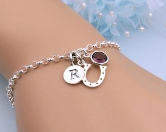 Silver Horseshoe Bracelet, Personalized Bracelets Handmade In U.K., Horseshoe Charm, Lucky Bracelet, Horse Lover Gift, Equestrian Jewelry