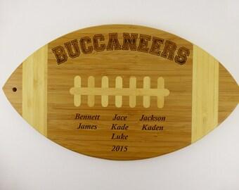 Commemorative Football Award, Team Gift, Coaches Gift, Football Team, Laser Engraved, Custom Football Cutting Board, Bamboo Cutting Board