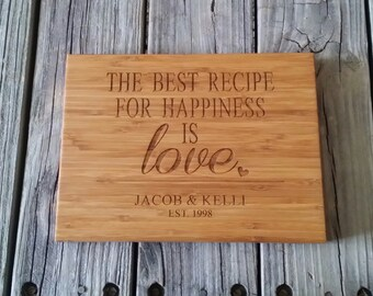 Custom Cutting Board -  Personalized Cutting Board - Bamboo Cutting Board - Cutting Board - Wedding Gift - 5th Anniversary Gift
