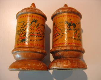 VINTAGE Wooden Salt & Pepper Shakers NATIVE AMERICAN Theme