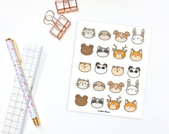 Cute animal stickers - 20 kawaii animal stickers, planner stickers, bullet journal stickers, animals stickers, cute stickers, kawaii sticker