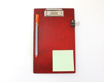 Wooden Clipboard / Red Clipboard / 8.5 x 11 inch Clipboard / Office Gift / A5 Clipboard / A4 Clipboard / Business Gift / Courier Gift