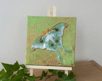 Luna Moth, moth wall art, moth canvas, autumn decor, moth sculpture, woodland sculpture, woodland wall art, forest decor, woodland decor