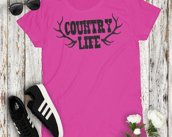 Country LIfe Deer Antler Cute Country Women's Tshirt Cowgirl Concert Party Top Mudding Campfire Southern Girl