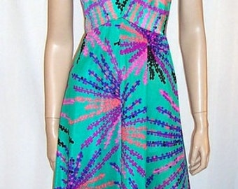 1970's Liberty House of Hawaii Printed Floor Length Gown