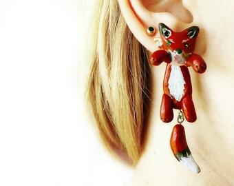 fox ear plugs Gauges Plugs 16g 12g 10g 8g 6g 4g 2g 0g 00g 1/2 9/16 5/8 11/16 13/16 ear tunnel earplugs Dangle Plugs unique gauge jewelry