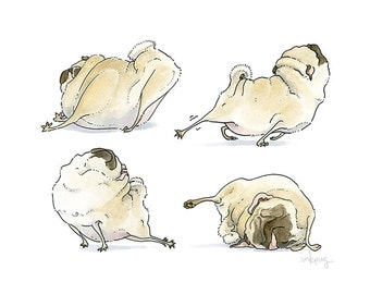Four Pug Poses - pug art print, good morning art, pug yoga, yoga art, bedroom decor, bedroom wall decor,pug bedroom wall art by Inkpug