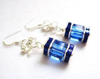 Blue Cube Earrings, Sapphire Blue Fancy Crystal Earrings with Silver Bows, Ocean Blue Earrings, Party Jewelry