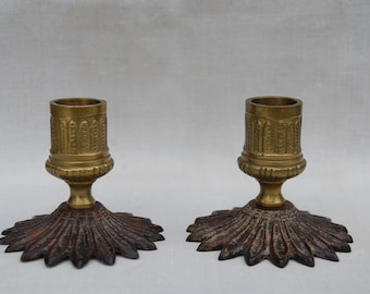 Pair of Small Brass and Metal Candle Holders