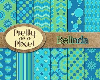 Printable Scrapbook Paper - Belinda - 12 x 12 - Set of 12 - INSTANT DOWNLOAD
