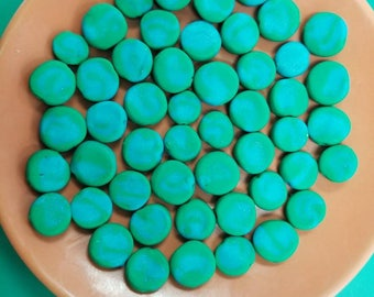 Teal and Blue Polymer Clay Beads