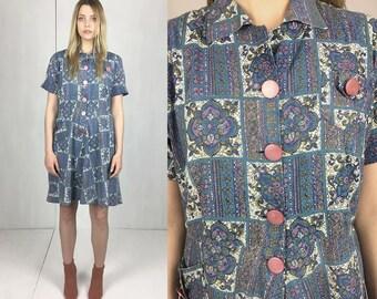 1940s Printed Cotton Dress L