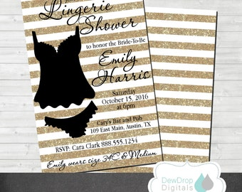 Lingerie Bridal Shower Invitation Gold Digital Lace  Printable Invite Bride Glitter Wedding Chic Personalized Bachelorette Bachlorette Party