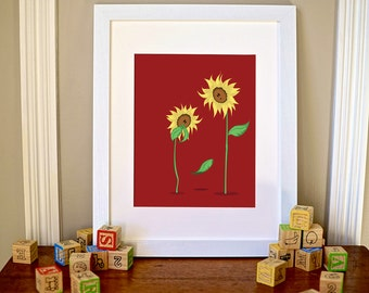 Nursery Wall Art, Silly Sunflowers, digital illustration, 8x10 instant download, kids wall art