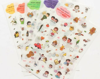 6 Sheets Happy Life Cute Bear Korean Stickers ~ Kawaii Decorative Sticker, Scrapbooking, Planner Journal Diary Paper Craft DIY, Kids Crafts