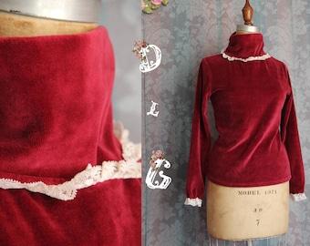Sz S Vintage 70s Turtleneck Velveteen Velvet Burgundy Red Blouse Top with Lace Accent
