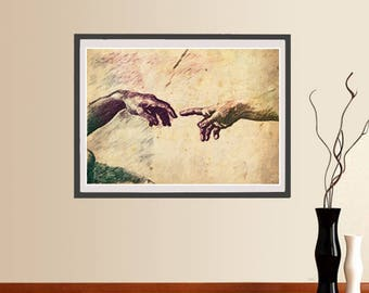 The Creation of Adam poster, Instant download, Wall art, Michelangelo's Vintage Poster, Pop art, Home Decor, Vintage print, Canvas paint