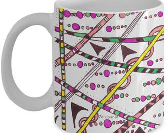 """Colored Zentangle Mug - Tangle Art Hand Drawn by ZenJoanie - """"Which Way"""" both sides - Authentic Zentangle Stuff Make Great Gifts"""