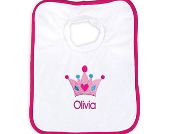 Personalized Baby Girl Bib with Princess Crown