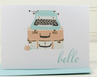 Typewriter Cards, Hello Cards, Customized Cards, Personalized, Typewriter Notecards, Boxed Set of 4 Cards, Boxed Notecards, Hello Typewriter