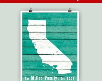 California art, Personalized family est, California State print,California rustic faux wood print, house warming, Los Angeles hearted city
