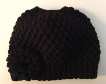 READY TO SHIP/Messy Bun Hat/Black Knit Knitted Hat/Crochet Hat/Beanie/Cap/Flower Hat/Ponytail Hat/Adult/Women/Ladies/Thick Chunky Hat/Toque