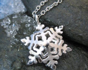 Small Snowflake Double-Sided Pendant