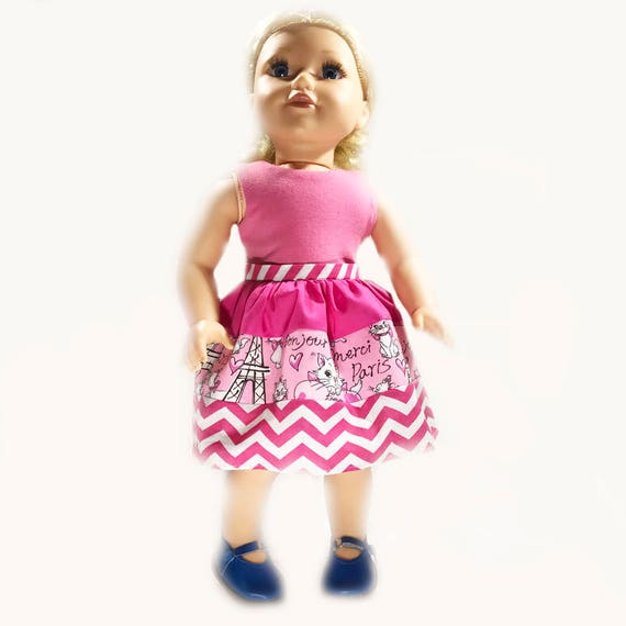 "Knee-Length Dress with Ties for American Girl and Other 18"" Dolls"