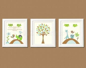 Brown, blue and green nursery art print set, 8x10, Kids Room Decor, Wall Art - Giraffe, elephant, love birds, owl, tree, aqua, lime green