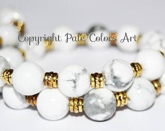 "12"" White 10mm Stone Wrap Bracelet,Memory Wire Wrap Bracelet,White Stone Bracelet,Neutral Stone Bracelet,Howlite Bracelet, PaleColorsArt.com"