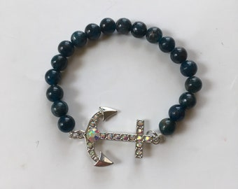 Blue Bead and Anchor Bracelet