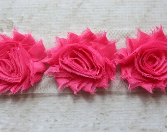 1/2 Yard Shabby Chiffon Flower Trim in Hot Pink - Flower Trim for Headbands and DIY supplies