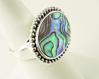 Size 8 Sterling Silver Abalone Filigree Ring (11.5 grams)