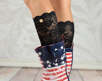 Sara's Black Button Lace Boot Cuffs