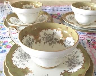 E.B Foley Green Teacup and Saucer Set