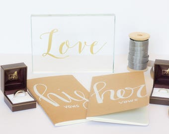 SALE**Hand-Lettered Vow Booklets, His and Hers, Wedding