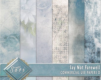 CU Commercial Use Background Papers set of 6 for Digital Scrapbooking or Craft projects Say Not Farewell Set D Designer Stock Papers