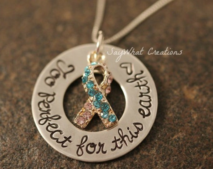 "Sterling Silver Pregnancy/Infant/Child Loss Necklace ""Too Perfect For This Earth"" Mothers Necklace"