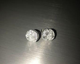 Silver druzy earrings, silver studs, silver earrings, weddings, bridesmaids, gift, glitter earrings, silver sparkly earrings