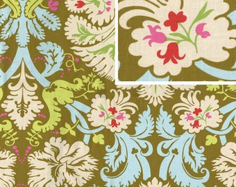 BELLE Amy Butler Fabric -1 Yard Olive Acanthus Pink Fabric Cotton 1 yard fashion quilt weight More available