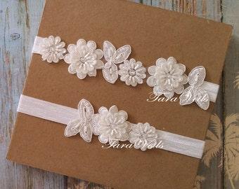 Wedding Bridal  White Garter| Rhinestone Garter| wedding garters |bridal garter| Floral lace garter|Vintage Garter/Garter Set |toss garter