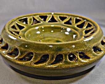 Oribe green double wall carved vessel